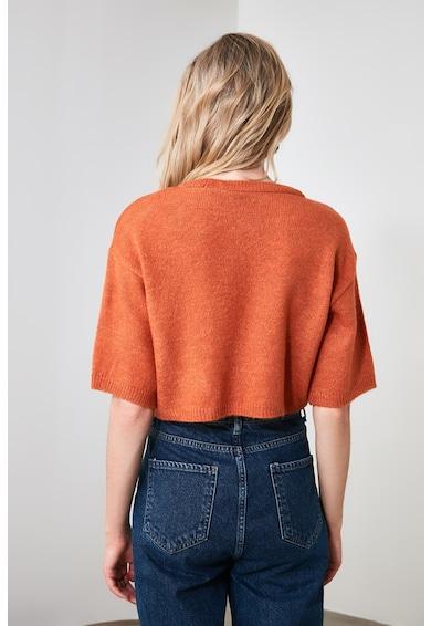 Trendyol Къс фино плетен пуловер с паднали ръкави Жени