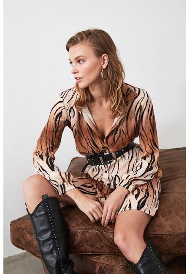 Trendyol Rochie tip camasa cu animal print Femei