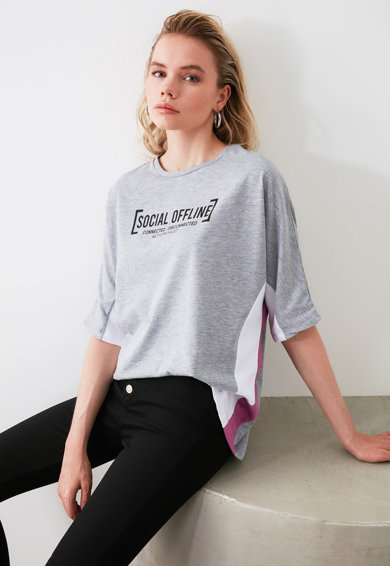 Trendyol Тениска с надписи Жени