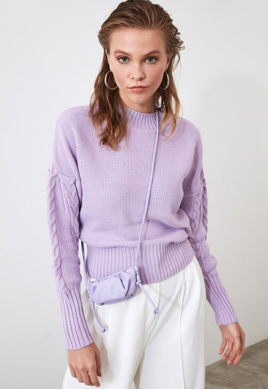 Trendyol Пуловер с паднали ръкави и плетка осморка Жени