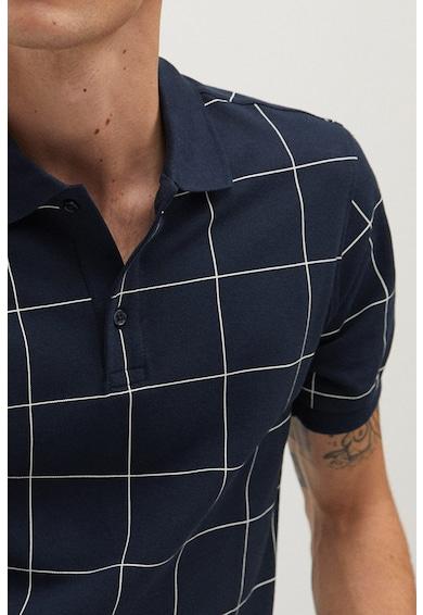 Mango Карирана тениска Check с яка Мъже