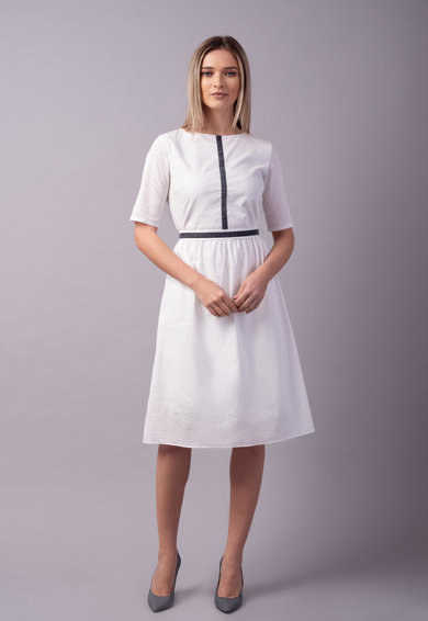 Couture de Marie Rochie midi evazata cu garnituri contrastante Femei
