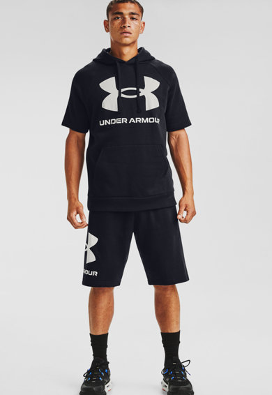 Under Armour Hanorac cu maneci raglan si imprimeu logo, pentru fitness Rival Barbati