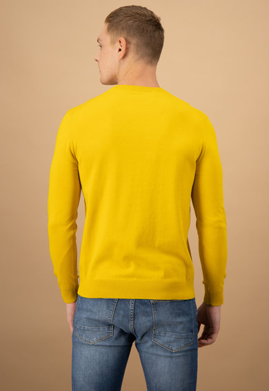 United Colors of Benetton Pulover tricotat fin cu decolteu la baza gatului Barbati