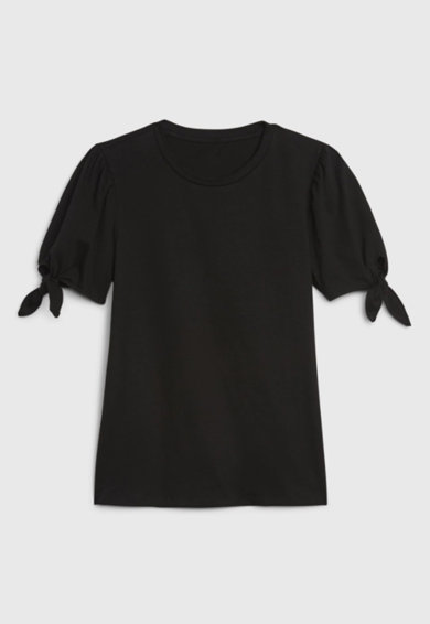 GAP Tricou de bumbac cu nod decorativ pe maneci b Femei
