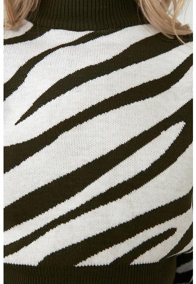 Trendyol Pulover tricotat fin cu model zebra Femei