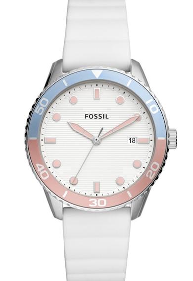 Fossil Ceas cu trei indicatoare si curea de silicon Femei