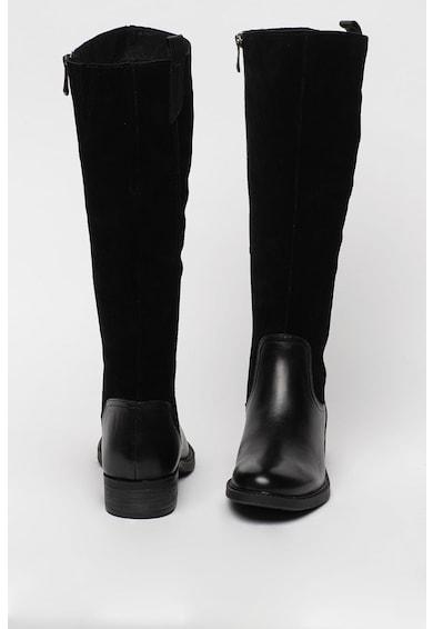 Marco Tozzi Cizme de piele lungi pana la genunchi cu insertii de piele intoarsa Femei