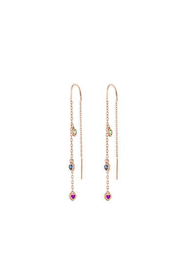 Loisir by Oxette Cercei drop placati cu aur rose de 18K, decorati cu cristale Femei