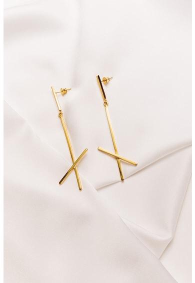 MONOM Cercei drop cu tija, din argint veritabil placat cu aur de 24K Alphabet X Femei