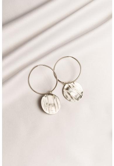 MONOM Cercei rotunzi cu pandantiv din argint veritabil placat cu aur de 24K Onda Femei