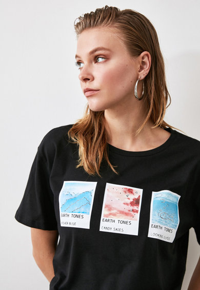 Trendyol Tricou cu imprimeu foto Femei