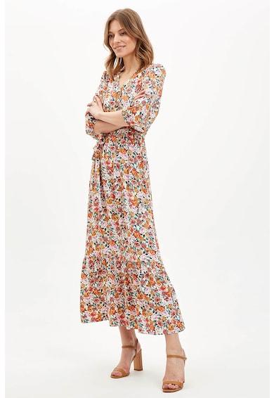 DeFacto Rochie maxi cu decolteu in V si model floral Femei