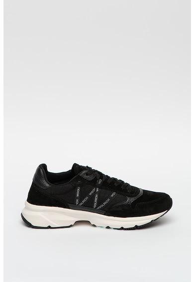 Woolrich Nyersbőr sneaker hálós anyagbetétekkel férfi