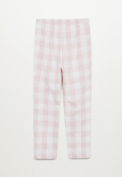 Mango Pijama in carouri, cu model grafic Fete
