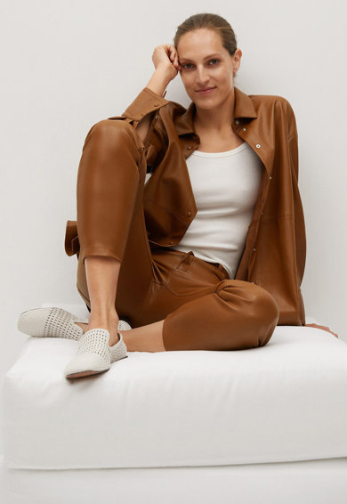 Mango Pantaloni slim fit de piele ecologica Lille Femei