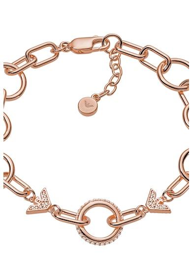 Emporio Armani Bratara din lant cu talisman circular si logo Femei