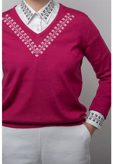 ALISIA ENCO Pulover de lana tricotat fin cu motive etnice Trifoi Femei