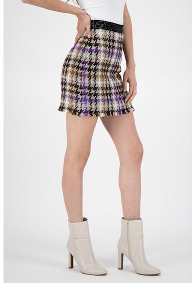 Pinko Fusta mini cu model houndstooth si talie cu paiete Femei