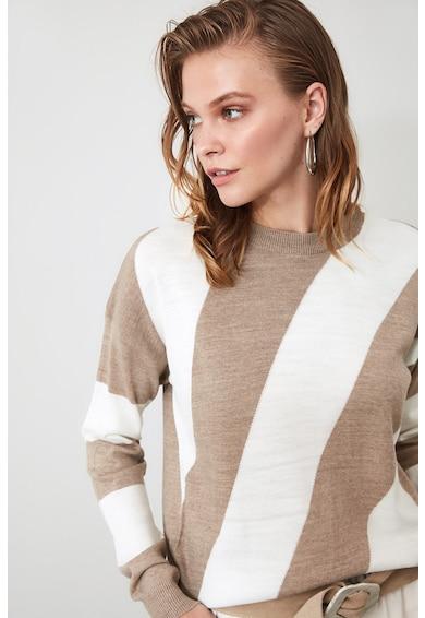 Trendyol Pulover tricotat fin, cu model colorblock Femei