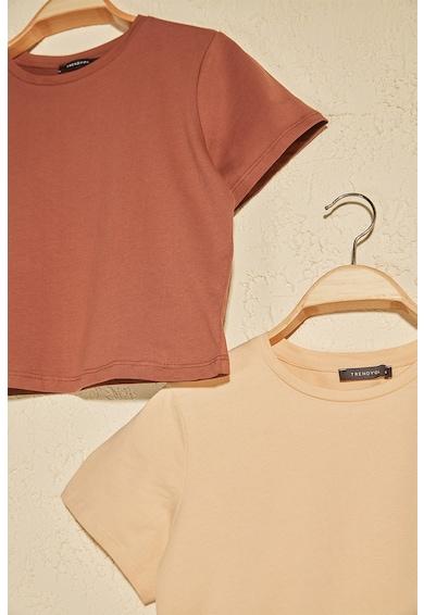 Trendyol Set de 2 tricouri cu decolteu la baza gatului Femei