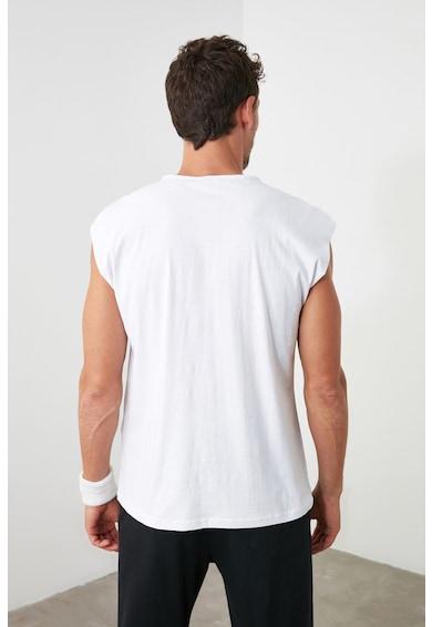Trendyol Tricou fara maneci si cu imprimeu text Barbati