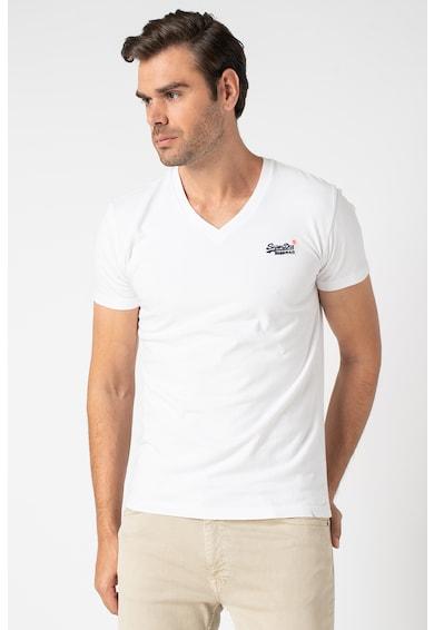 SUPERDRY V-nyakú póló hímzett logóval a mellrészen férfi