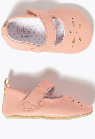 Marks & Spencer Botosei Mary-Jane de piele, Roz somon Fete