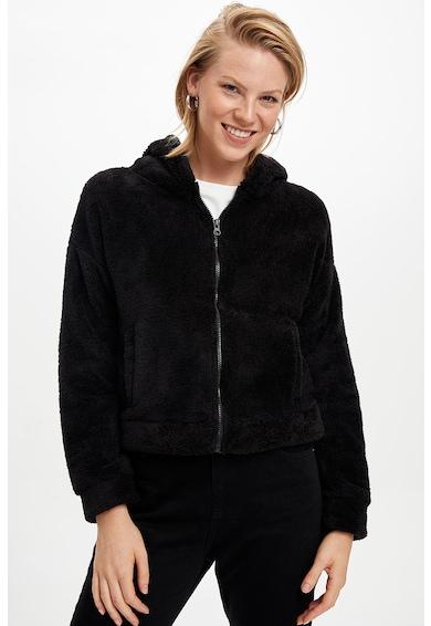 DeFacto Cipzáros plüsspulóver kapucnival női