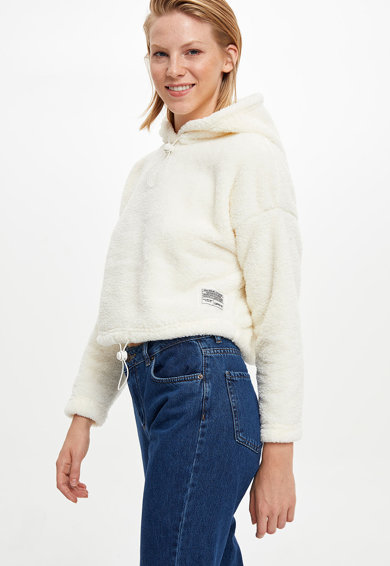 DeFacto Irha hatású kapucnis crop pulóver női
