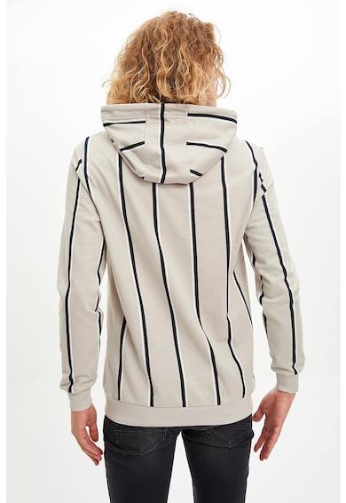 DeFacto Szűk fazonú csíkos pulóver kapucnival férfi