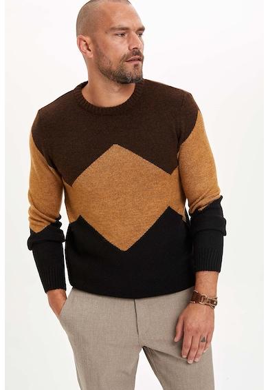 DeFacto Kerek nyakú pulóver bordázott szegélyekkel férfi