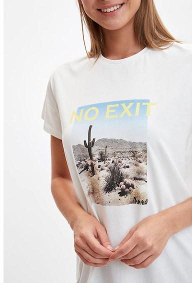 DeFacto Fotómintás póló felirattal női