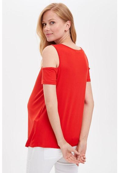 DeFacto Tricou cu decupaje pe umar si imprimeu text, pentru gravide Femei