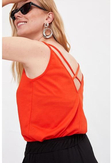 DeFacto V-nyakú top keresztpántokkal a hátoldalán női