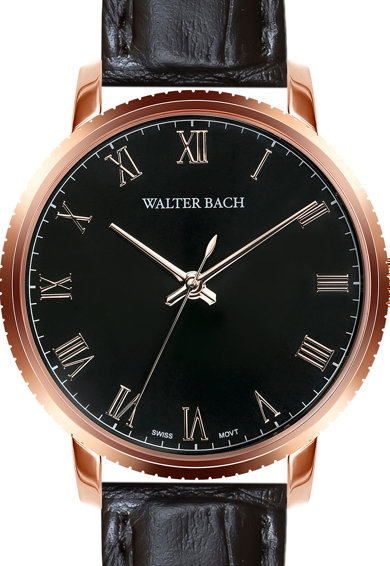 Walter Bach Ceas rotund cu o curea de piele Barbati