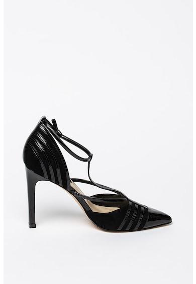 NINE WEST Pantofi din material terry cu insertii de piele si bareta in forma de T Femei
