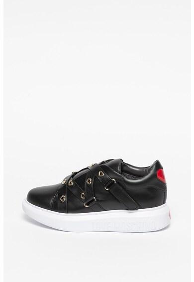 Love Moschino Pantofi sport de piele si piele ecologica, cu benzi velcro Femei