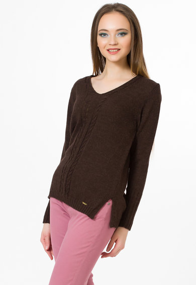 Sense Pulover din amestec de lana si lana alpaca cu detalii cu model torsade Femei