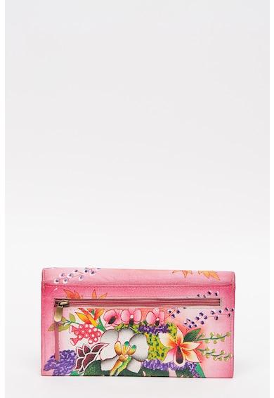 Niarvi Portofel de piele cu clapa, cu imprimeu floral Femei
