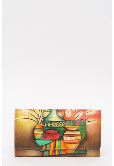 Niarvi Portofel de piele pictat manual Femei