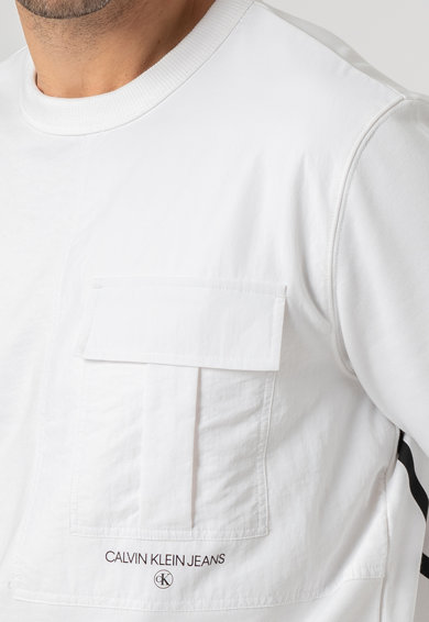 CALVIN KLEIN JEANS Kerek nyakú pulóver a mellrészen zsebbel férfi