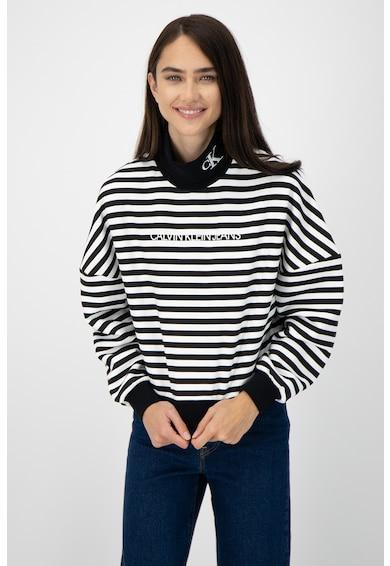 CALVIN KLEIN JEANS Bluza sport cu imprimeu logo si maneci cazute, Negru/Alb, Femei