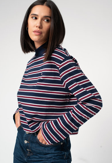 Tommy Jeans Bluza crop din amestec de bumbac organic, cu dungi Femei