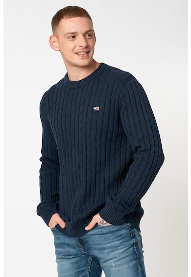 Tommy Jeans Pulover din bumbac organic cu model cu torsade Barbati