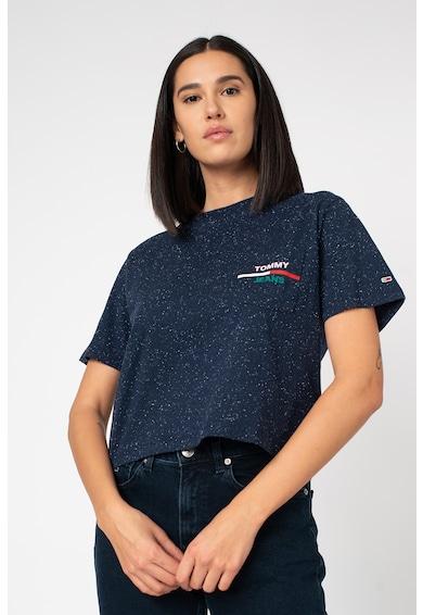 Tommy Jeans Tricou crop din amestec de bumbac organic cu buzunar pe piept Femei