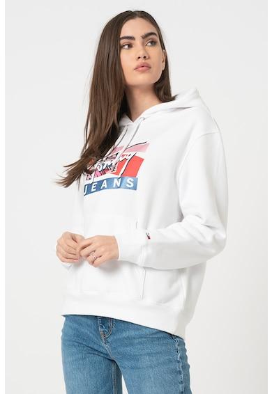 Tommy Jeans Logómintás kapucnis pulóver női