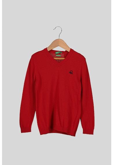 United Colors of Benetton Pulover tricotat fin din amestec de lana cu decolteu in V Baieti
