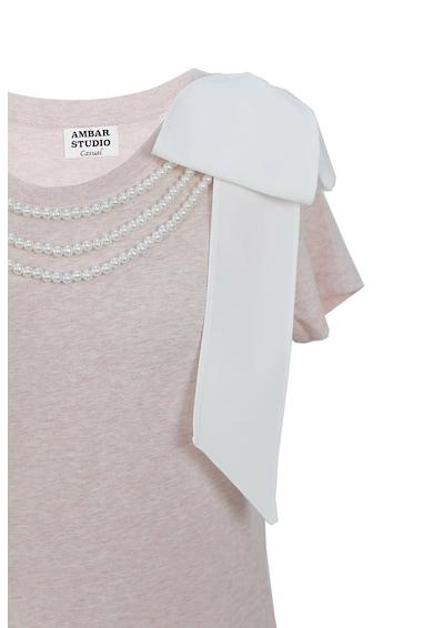 ambar studio Tricou de bumbac organic cu perle sintetice Artist Femei