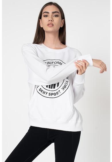 DKNY Bluza sport cu decolteu la baza gatului si imprimeu logo Femei